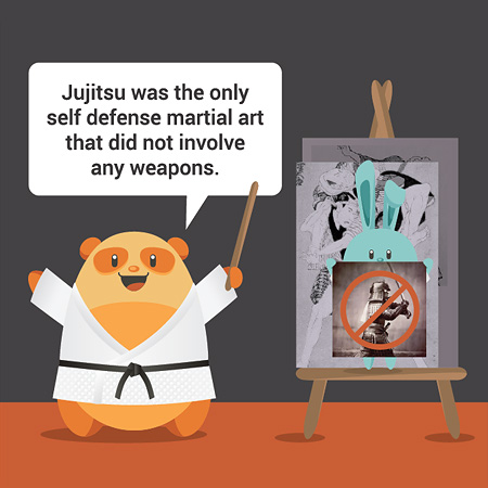 Jujitsu was the only self defense martial art that did not involve any weapons.